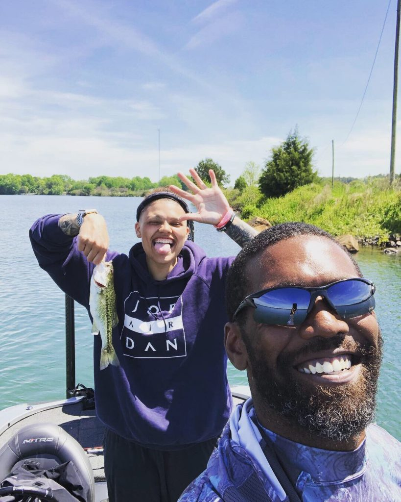 Sydney Moss with her dad Randy Moss
