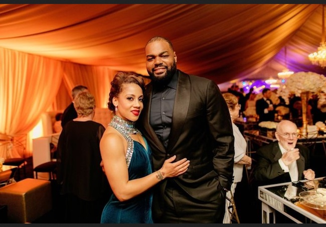 Michael Oher with wife Tiffany Roy