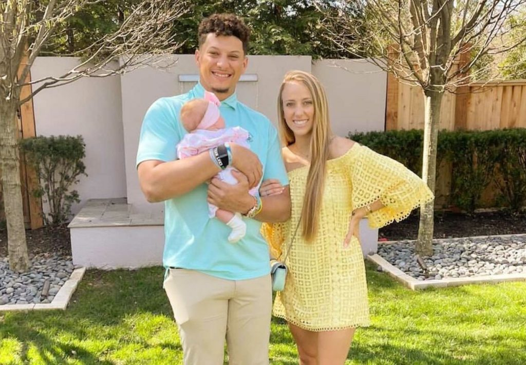 Brittany Matthews with Patrick Mahomes and daughter Sterling Skye Mahomes