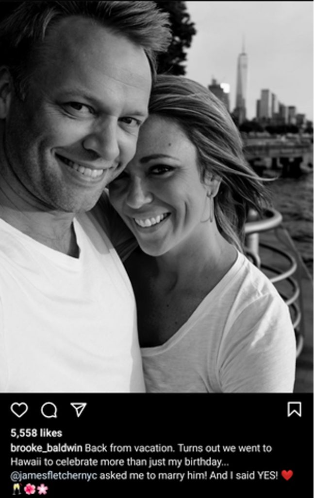 Brooke Baldwin and her husband James Fletcher on their engagement day.