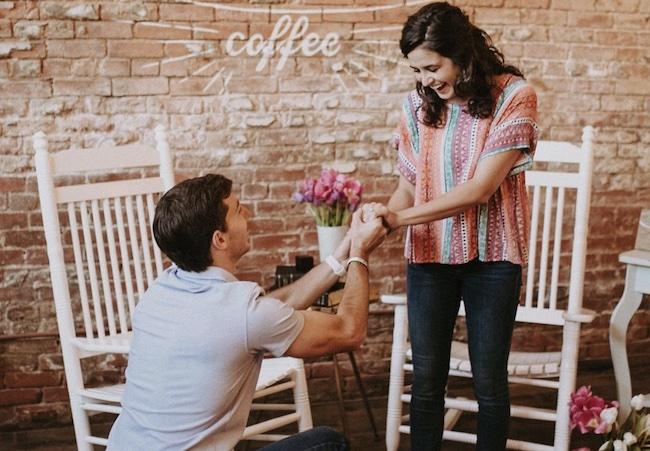 Coby Cotton proposing to his girlfriend Aubrey Ellet