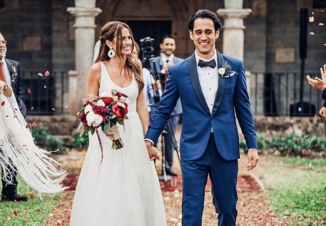 Romina Puga with her husband Miguel Tamayo on their wedding day