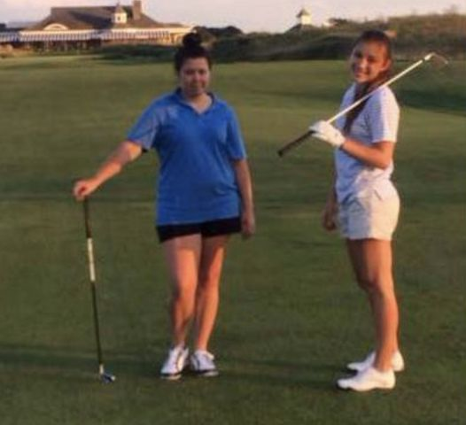 Cecilia playing golf with her sister